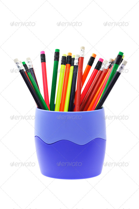 Colorful writing pencils in container - Stock Photo - Images