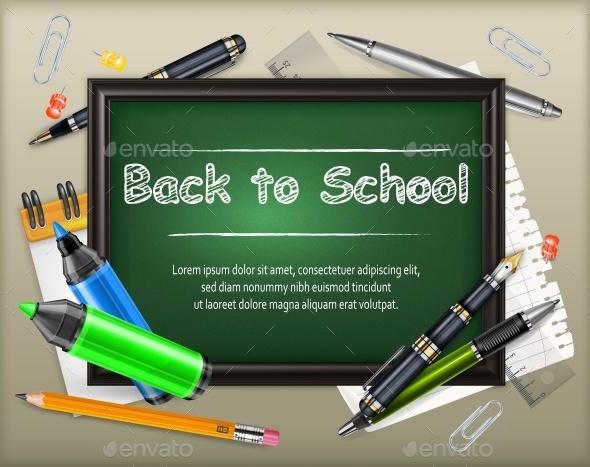 School Blackboard and Stationery - Food Objects