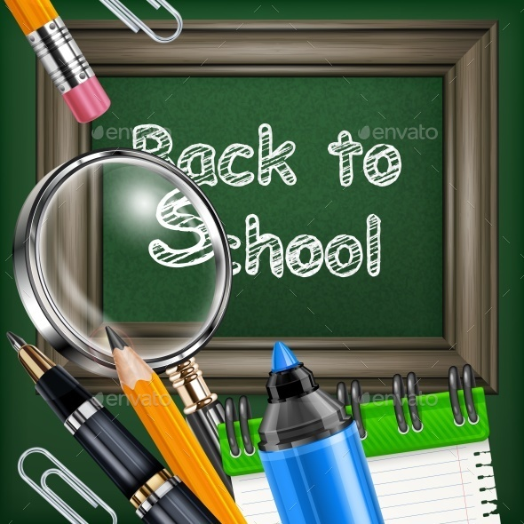 School Blackboard and Stationery - Food Objects
