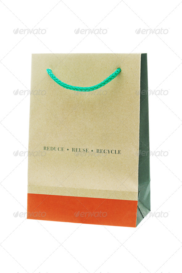 Brown recyclable paper bag - Stock Photo - Images