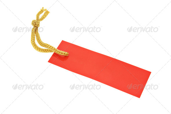 Red tag with string - Stock Photo - Images