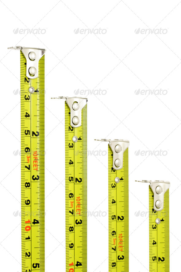 Measuring tapes with magnetic heads - Stock Photo - Images