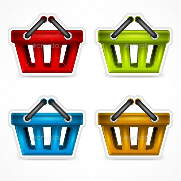 Shopping Colour Baskets - Food Objects