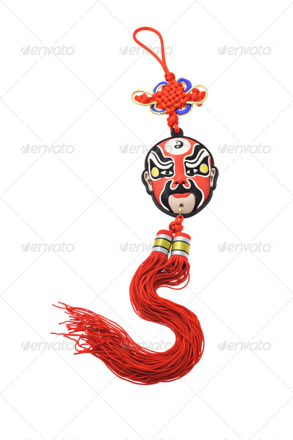 Colorful Chinese opera mask ornament - Stock Photo - Images