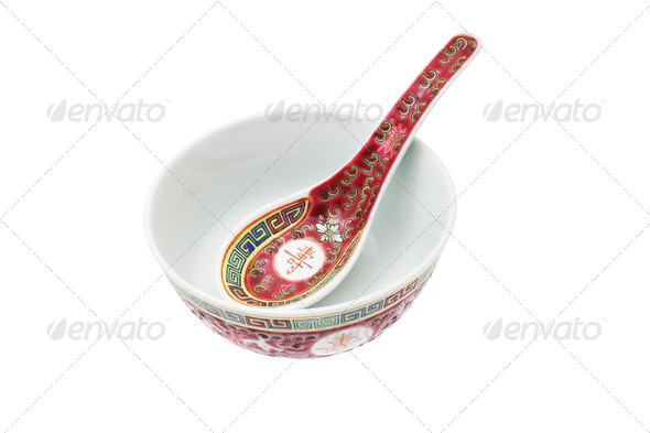 Chinese ceramic bowl and spoon - Stock Photo - Images