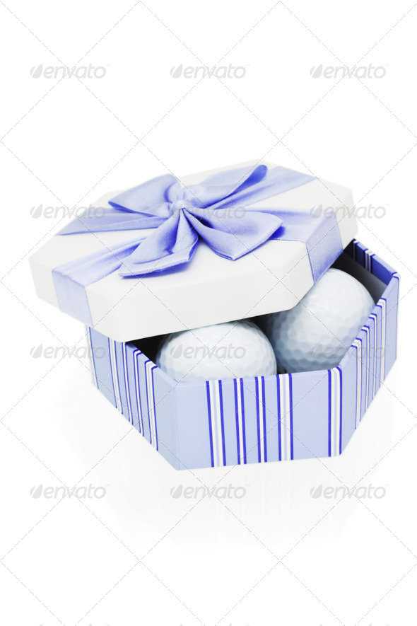 Golf balls in gift box - Stock Photo - Images