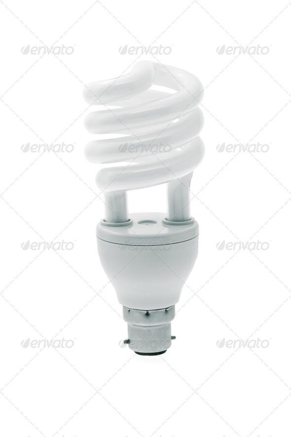 Spiral energy saving light bulb - Stock Photo - Images