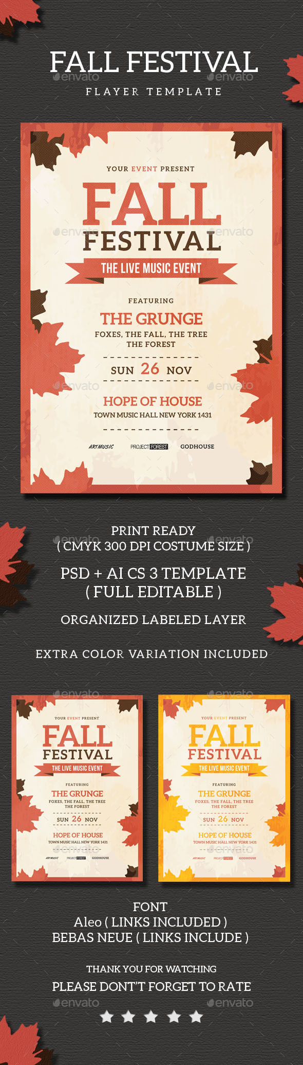 Fall Festival Flyer Template - Concerts Events