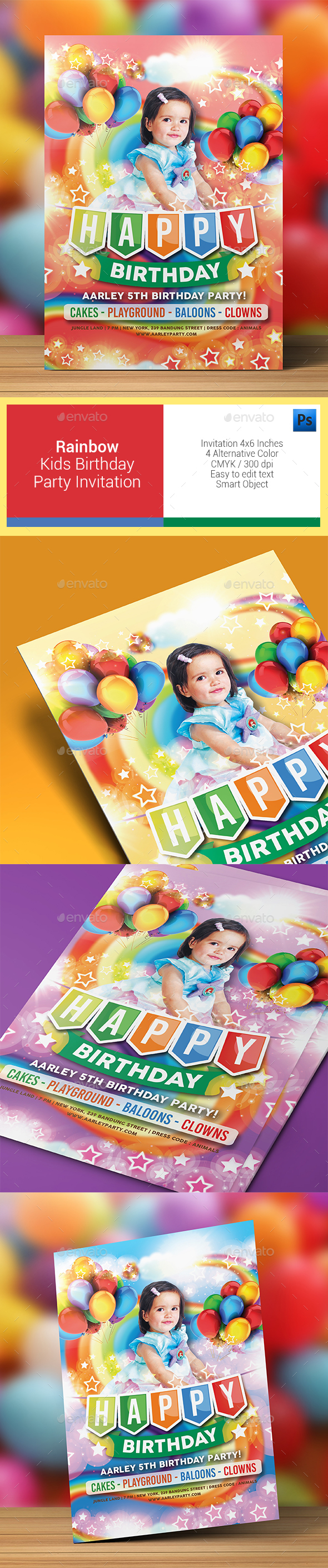 Rainbow Kids Birthday Party Invitation - Birthday Greeting Cards