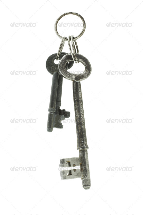 Old keys suspended in the air - Stock Photo - Images