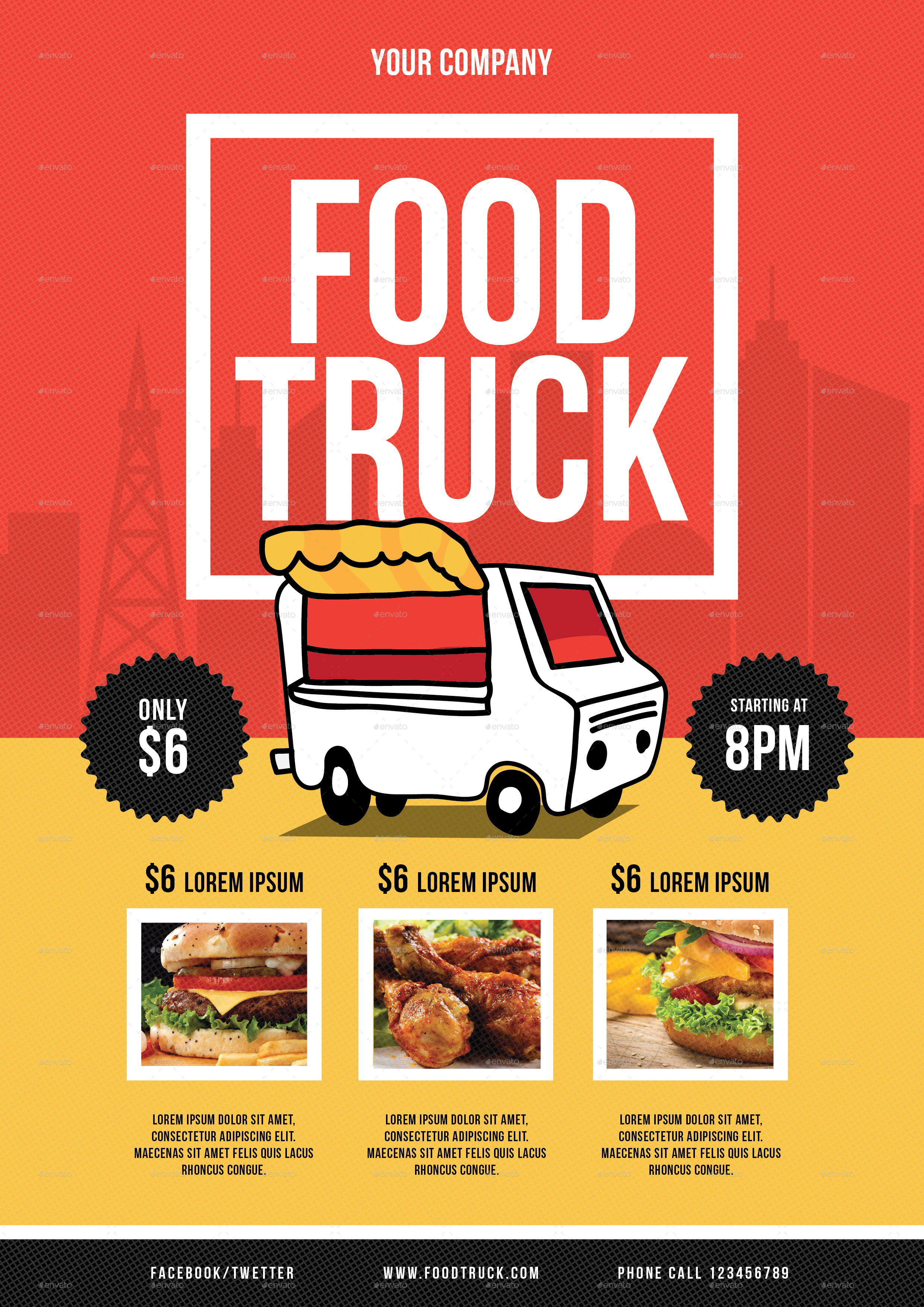 Food Truck Flyer By Lilynthesweetpea GraphicRiver - Food truck flyer template