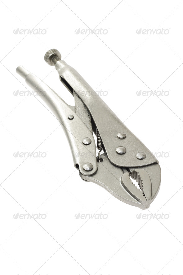 Locking grip pliers - Stock Photo - Images