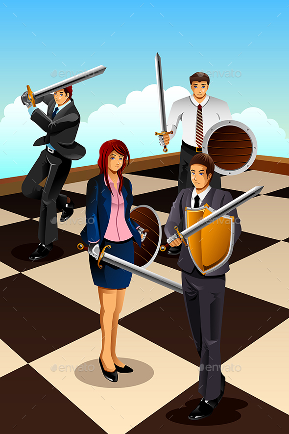 Business People Fighting as Knight - Concepts Business