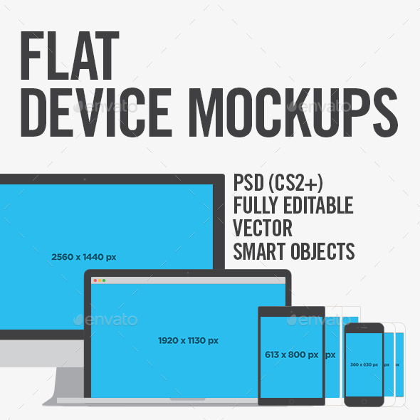 Flat Device Mockups - Website Displays