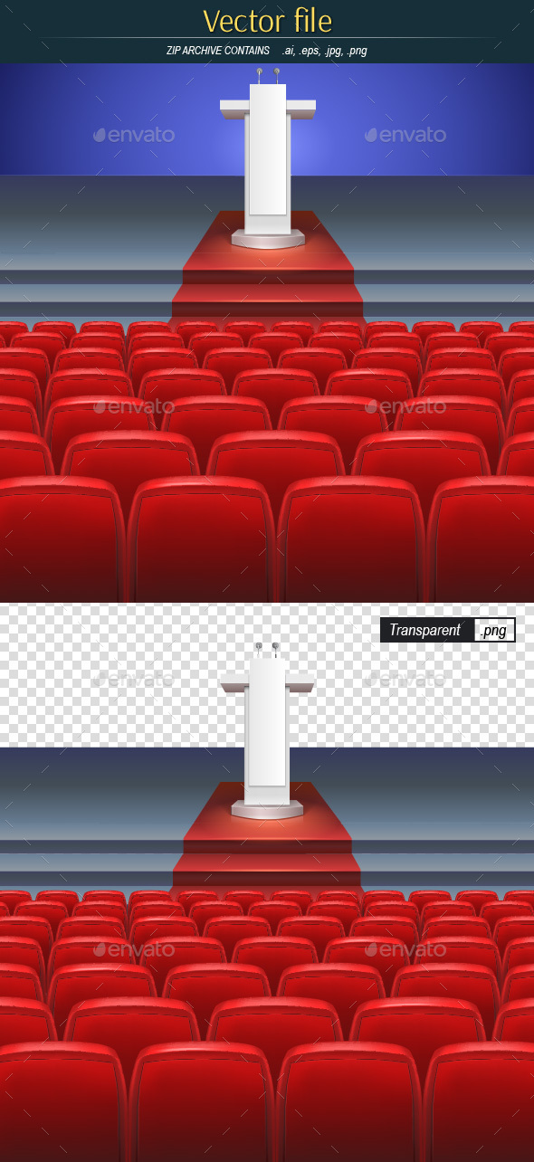 Stage with Seats and Rostrum Editable Vector - Backgrounds Decorative