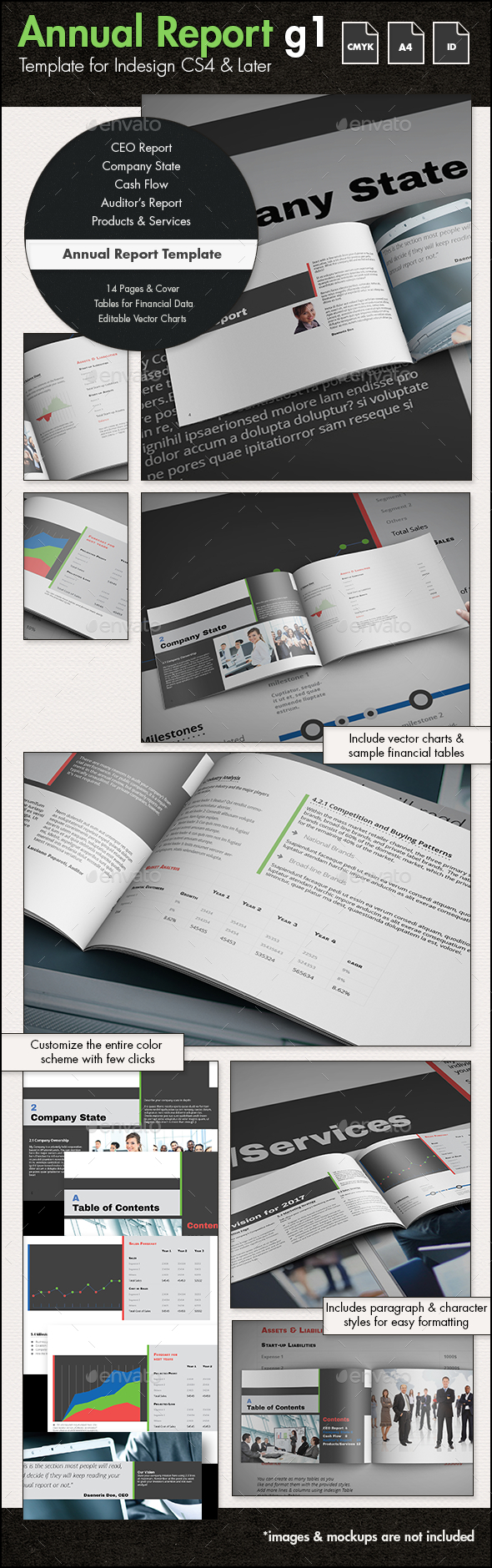 Annual Report Template g1 - A4 Landscape - Informational Brochures