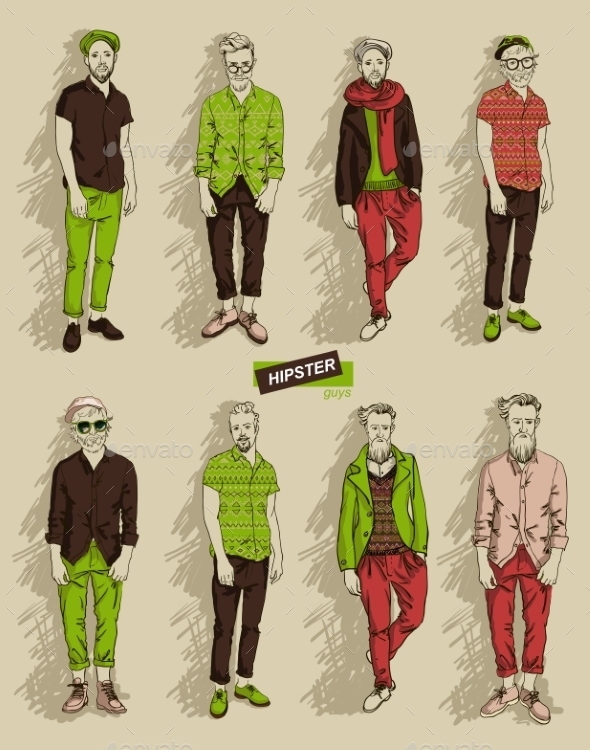 Hipster Man In Fashion Set - People Characters