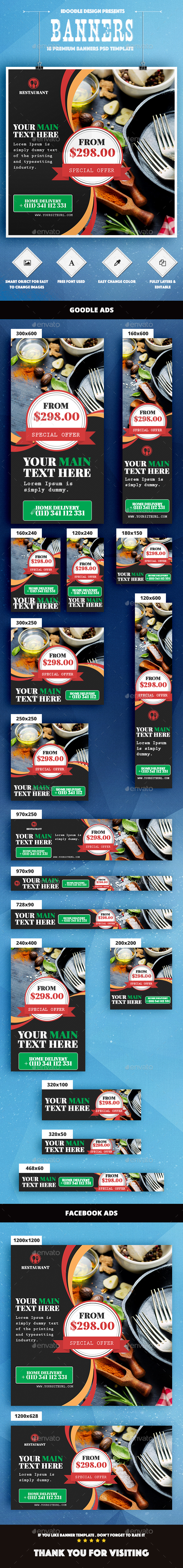 Food & Restaurant Banners Ad - Banners & Ads Web Elements