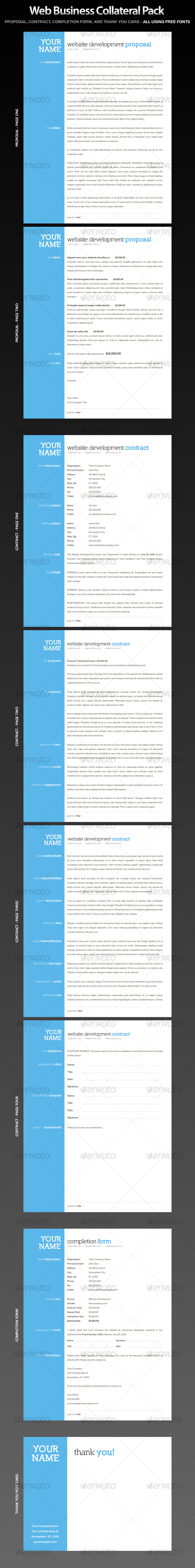 Web Business Collateral - Contract, Proposal - Proposals & Invoices Stationery