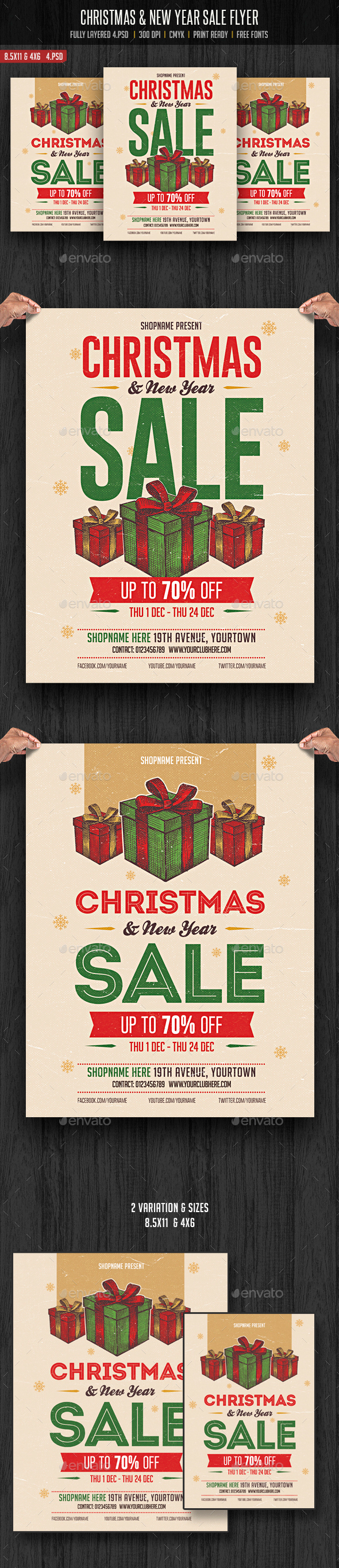 Christmas & New Year Sale Flyer - Flyers Print Templates
