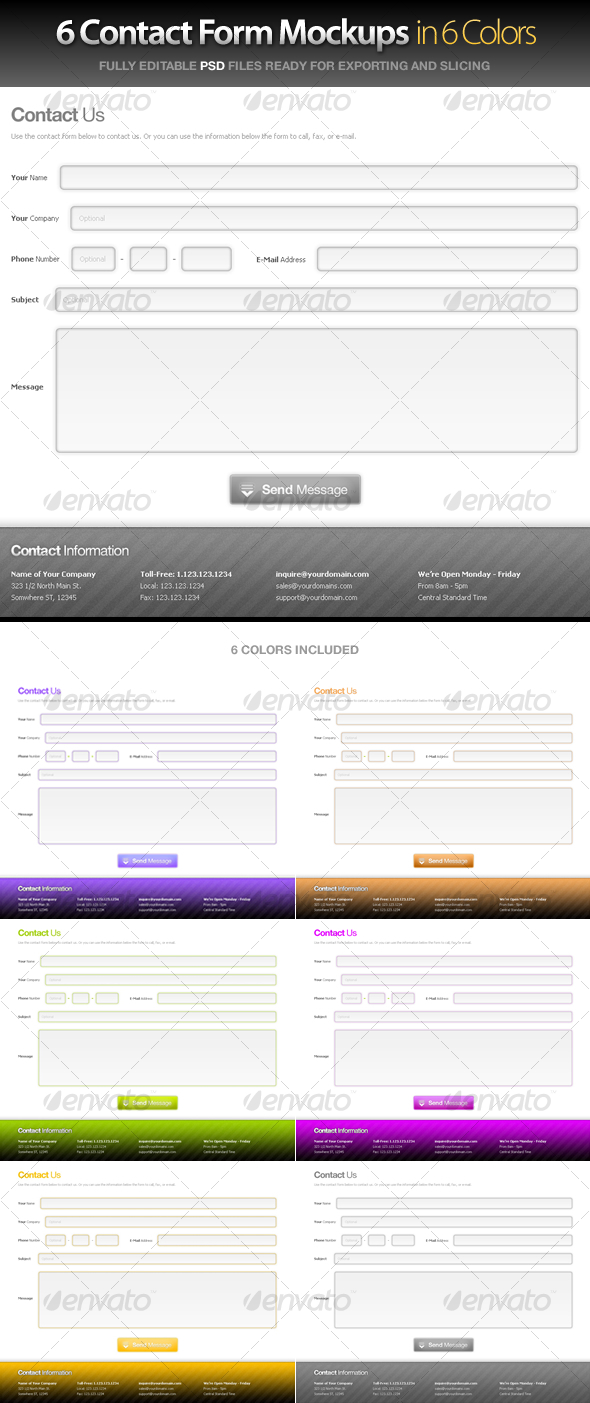 Contact Forms in 6 Colors - Forms Web Elements