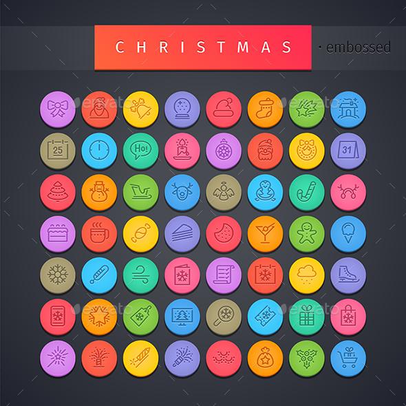 Christmas Round Embossed Icons Set - Seasonal Icons