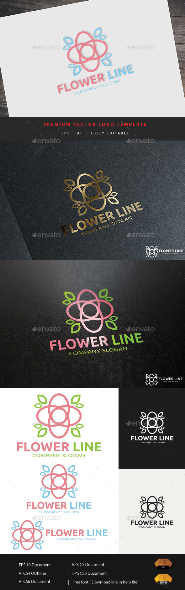Flower Line - Abstract Logo Templates