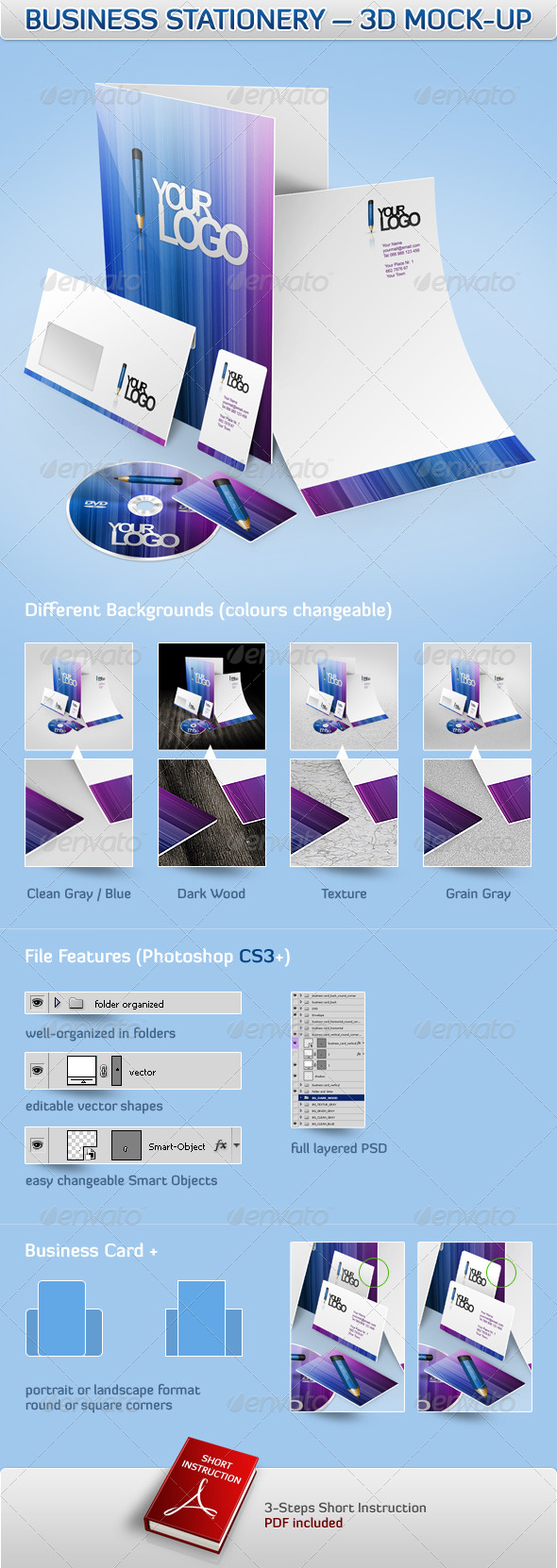 Business Stationery – 3D Mock-Up - Stationery Print