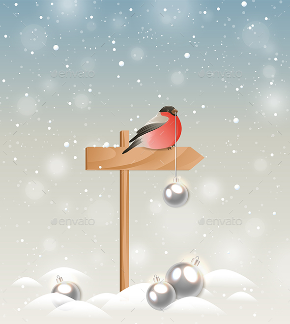 Bullfinch and Christmas Decorations - Christmas Seasons/Holidays