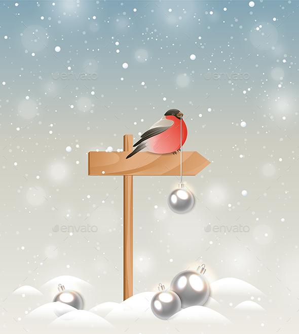 Bullfinch and Christmas Decorations - Christmas Seasons/Holidays