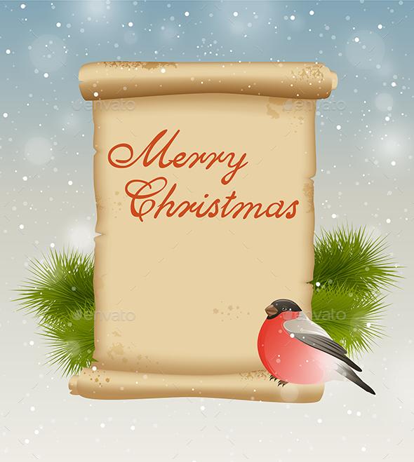 Bullfinch and Vintage Scroll - Christmas Seasons/Holidays