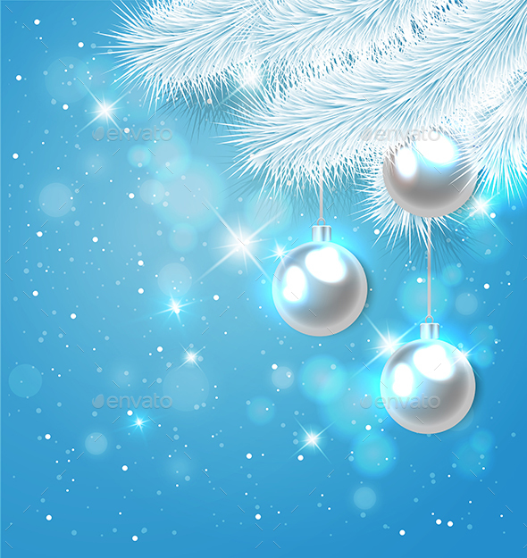 Blue Christmas Background with Fir - Christmas Seasons/Holidays