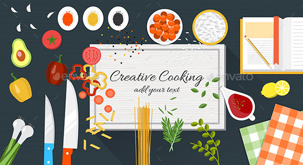 Food and Cooking Banner - Food Objects