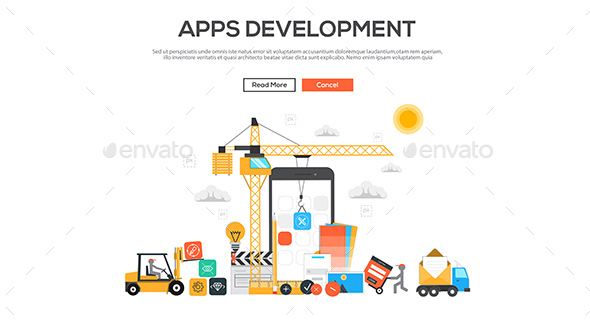 Flat Design Graphic Image Concept - Web Technology