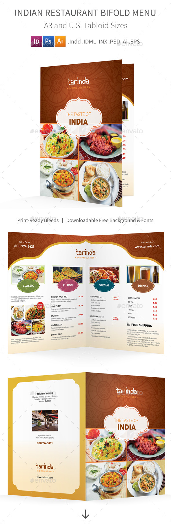 Indian Restaurant Bifold / Halffold Menu - Food Menus Print Templates