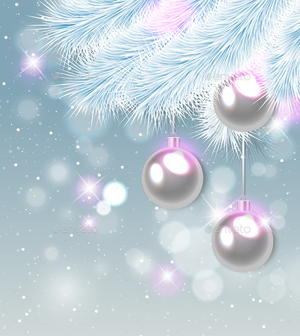 White Pine Branch and Decorations - Christmas Seasons/Holidays