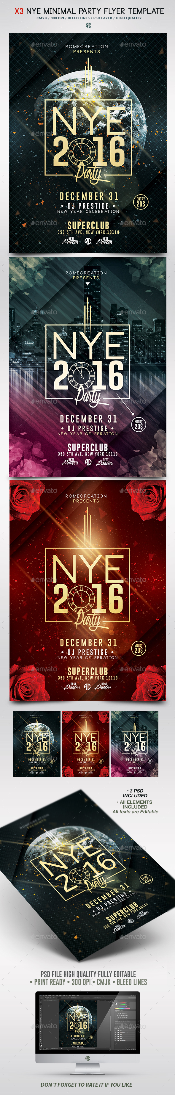 X3 NYE Minimal Party | Psd Poster Template  - Events Flyers
