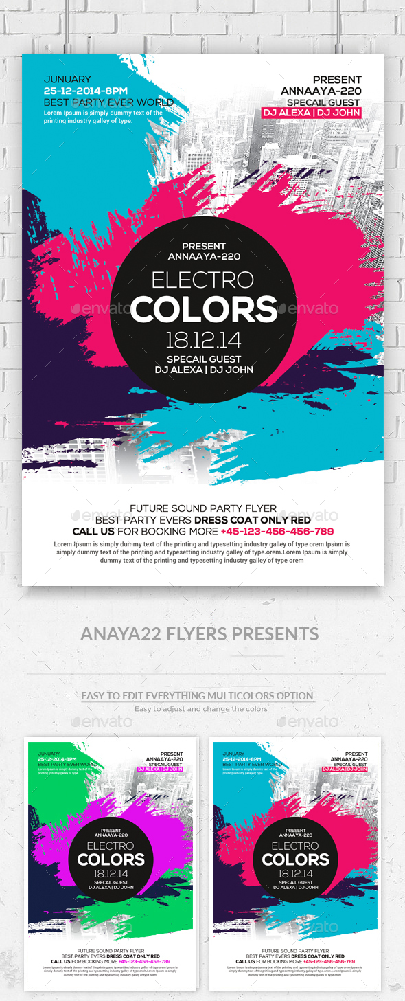 Electro Color Sounds Party Flyer by AnAYa22 | GraphicRiver