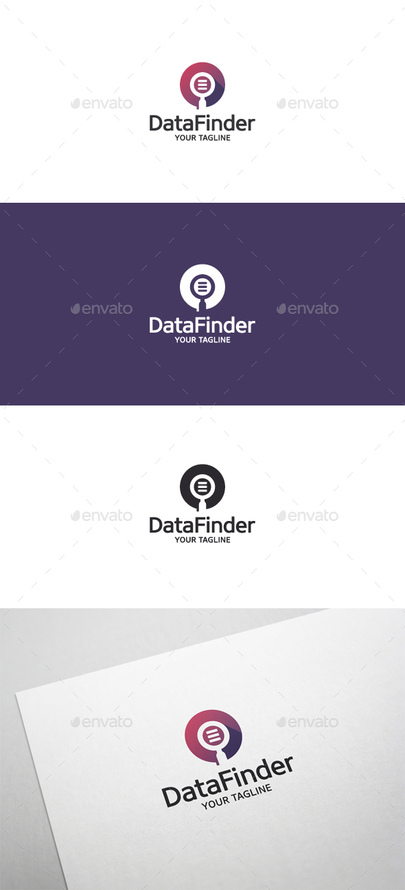 Data Finder - Magnifying Glass Logo - Objects Logo Templates