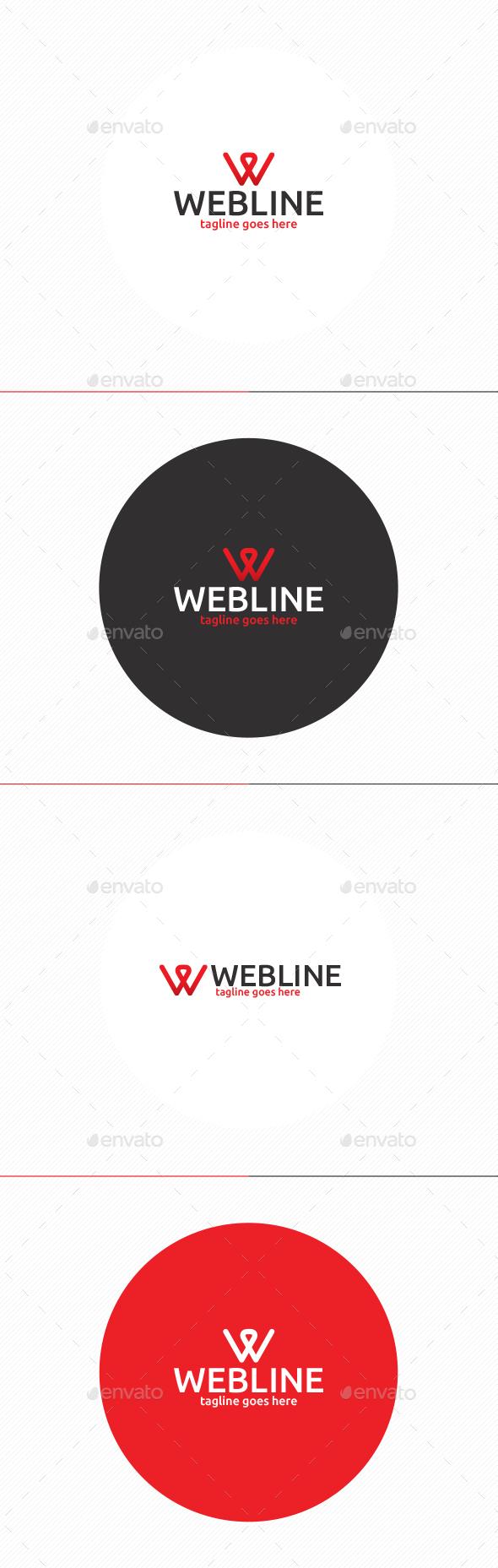 Web Line Logo • Letter W - Letters Logo Templates