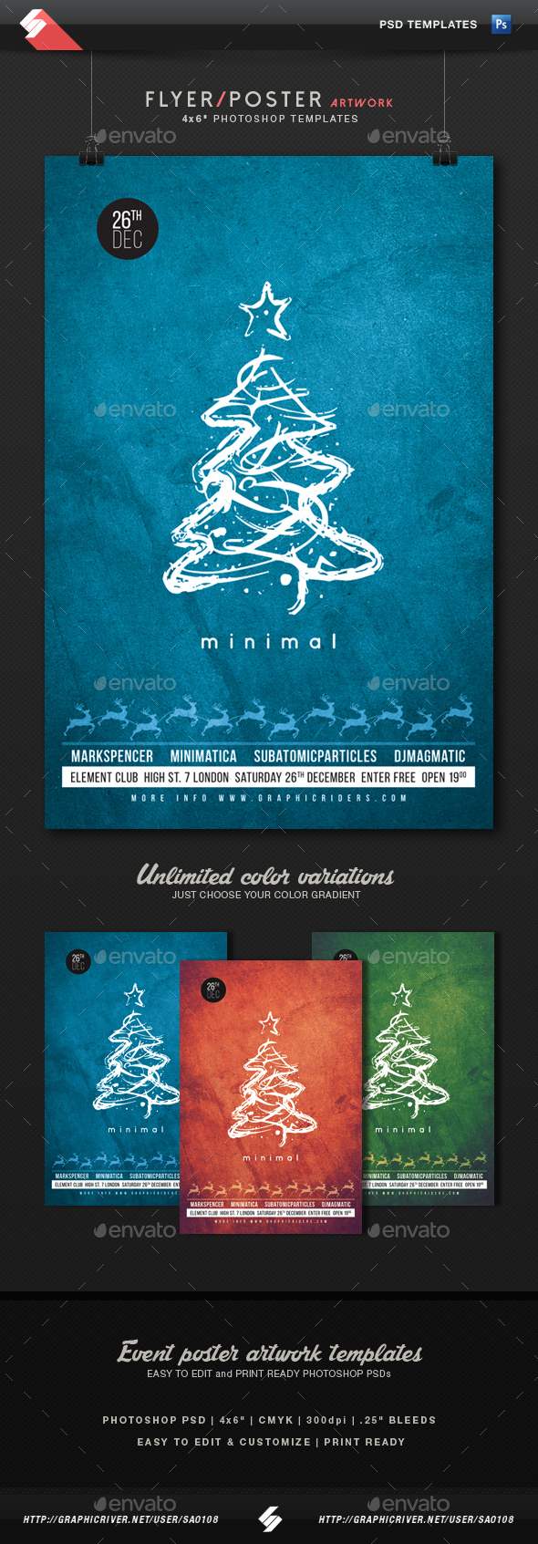 Minimal Christmas Party Flyer Artwork Template - Clubs & Parties Events