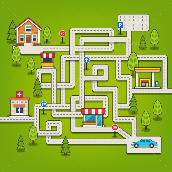 City Maze Game with Roads - Miscellaneous Vectors
