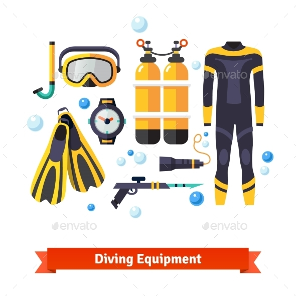 Diving Equipment Icons Set - Sports/Activity Conceptual