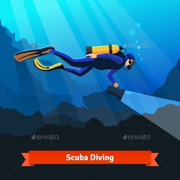 Professional Scuba Diver Man Underwater - Sports/Activity Conceptual