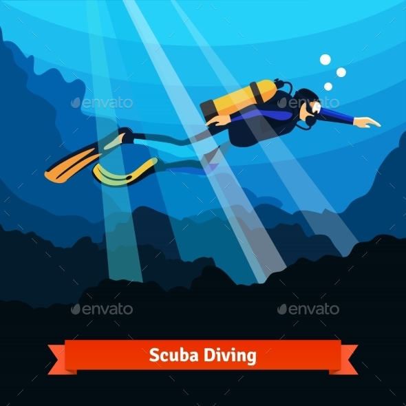 Professional Scuba Diver Man Underwater - Sports/Activity Conceptual