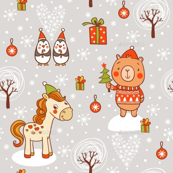 Cartoon New Year Texture - Christmas Seasons/Holidays