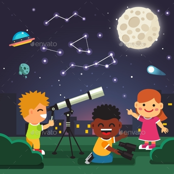 Kids Making Telescope Astronomical Observations - People Characters