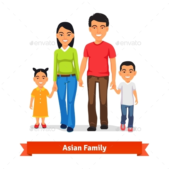 Asian Family Walking Together and Holding Hands - People Characters