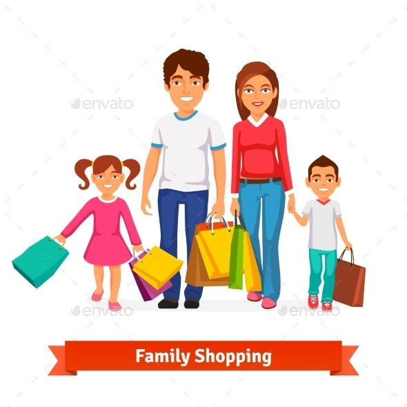 Family Shopping Flat Style - Retail Commercial / Shopping