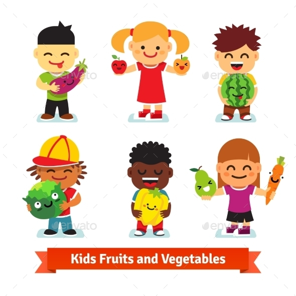 Happy Kids Holding Smiling Fruits and Vegetables - People Characters